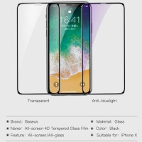 Iphone X /XS Baseus All Screen 4D Tempered Glass - Iphone X Hitam