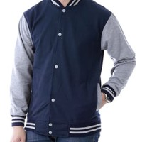 JAKET POLOS BASEBALL NAVY LIST ABU ! SWEATER BASE BALL MURAH VARSITY