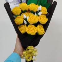 Buket Mawar Flanel untuk hadiah wisuda, valentine, ultah, dll