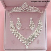 Perhiasan Mahkota Kalung Pengantin Modern -Paket Aksesoris Wedding-023