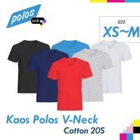Kaos Polos V-Neck Super Cotton 20s Unisex Ukuran Kecil [XS~M]