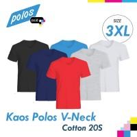 Kaos Polos V-Neck Super Cotton 20s Unisex Ukuran JUMBO XXXL [3XL]