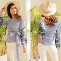 Baju Atasan Kimono Stripe Blouse Wanita Korea Import White Blue Yellow