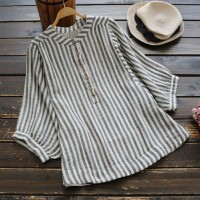Womens O Neck Striped Loose Tunic Button Down Long Sleeve Linen Shirt