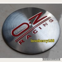 sticker stiker lapisan tutup dop velg mobil logo OZ RACING silver