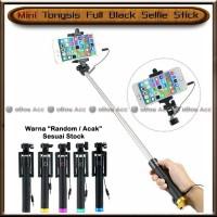 Tongsis Full Black Kabel Selfie Stick Mini Hp Handphone