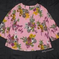preloved floral print top bell sleeves / atasan blouse casual murah