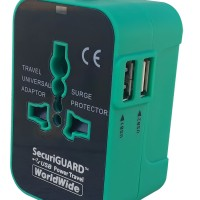 Travel Charger Murah / USB Adaptor World Series - Black Green
