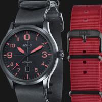 AVI-8 Man Flyboy Automatic Watch Black Dial Black Leather Strap AV-402