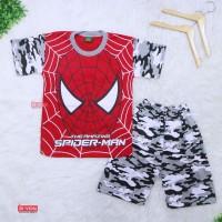 Setelan Pendek SuperHero Uk 9-10 Tahun / Kaos Anak Laki Spiderman