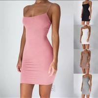 Dress Mini Bodycon Sexy Tali Spaghetti Untuk Musim Panas