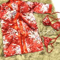 MAIKO Sexy Lingerie Costume Japanese Geisha Oriental Kimono + Bra Set