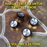 Set Knob Hat Potensio 2 Volume 2 Tone Control Knop Topi Gitar Lespaul