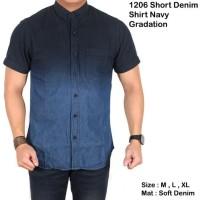 Denim Kemeja Pendek Dongker Kombinasi Biru Jeans Slim