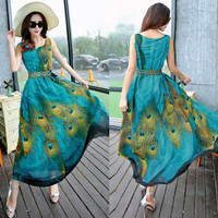 Dress sexy women summer Boho Long Beach Dress Wanita Murah Baju Pantai