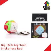 Rubik 3x3 Qiyi Keychain 3.0cm Stickerless Red