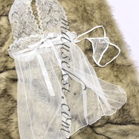 Anna Sexy Lingerie Lace Babydoll Set + G String White Putih