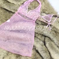 Mona Sexy Lingerie Lace Halterneck Babydoll Set + G String Pink