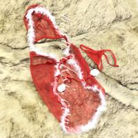 Holly Naugthy Sexy Santa Lingerie Cosplay Sinterklas Costume Red Merah