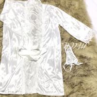 Dita Lingerie Sexy Kimono Silk Robe Bathrobe + G String White Putih