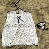 KIKO Sexy Lingerie Babydoll Lace + G String White Daster Baju Tidur