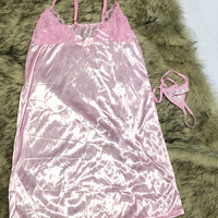 ELSA Sexy Lingerie Babydoll Set + G String Pink Baju Tidur Daster