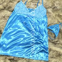 ELSA Sexy Lingerie Babydoll Set + G String Blue Baju Tidur Daster Biru