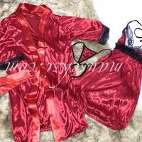 Yuko Sexy Lingerie Babydoll Nightdress + Kimono G String Red Merah