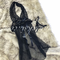 Anna Sexy Lingerie Lace Babydoll Set + G String Black Hitam