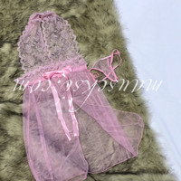 Anna Sexy Lingerie Lace Babydoll Set + G String Pink Transparan