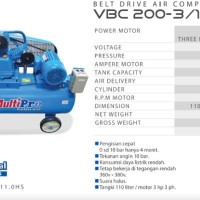 Kompresor MultiPro VBC 200-3-110 HS Belt Drive Air Compressors 2HP