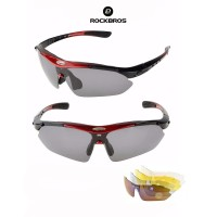 ROCKBROS 1000 Polarized Sports Sunglasses 5 lens - kacamata Sepeda RED