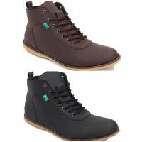 Sepatu Kickers Bandit Brodo Semi Boots Pria Hitam Coklat