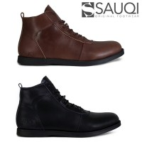 Sepatu Pria Sauqi Brodo Boots Black Sole Hitam 100% Kulit Sapi Asli
