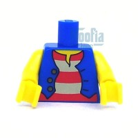Lego Torso Pirates Pirate Blue Vest Red White Striped Minifig Brick