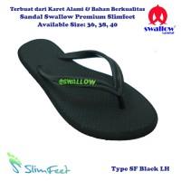 Sandal Swallow Premium SlimFeet Wanita Hitam - Logo Hijau