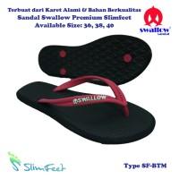 Sandal Swallow Premium SlimFeet Wanita Black – Tali Merah