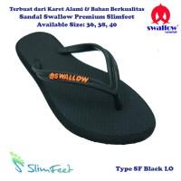 Sandal Swallow Premium SlimFeet Wanita Hitam - Logo Orange