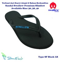 Sandal Swallow Premium SlimFeet Wanita Hitam - Logo Biru