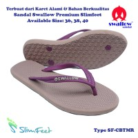 Sandal Swallow Premium SlimFeet Wanita CoffeeBrown Tali Maroon