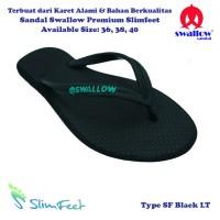 Sandal Swallow Premium SlimFeet Wanita Hitam - Logo Tosca
