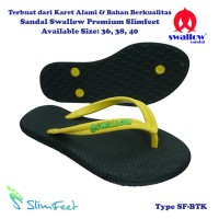 Sandal Swallow Premium SlimFeet Wanita Black – Tali Kuning