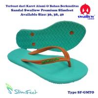 Sandal Swallow Premium SlimFeet Wanita GreenMint – Tali Orange