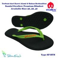 Sandal Swallow Premium SlimFeet Wanita Black – Tali Hijau