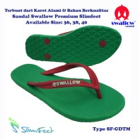 Sandal Swallow Premium SlimFeet Wanita GreenDark – Tali Merah