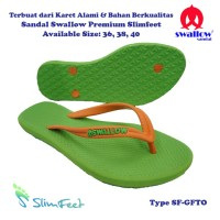 Sandal Swallow Premium SlimFeet Wanita GreenFlash – Tali Orange
