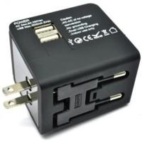 CHARGER COLOKAN LISTRIK AC UNIVERSAL ADAPTER PLUG CONVERTER 2 USB PORT