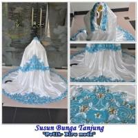 Mukena/Mukenah Grosir Dewasa Terbaru Motif Susun Tanjung Putih Biru