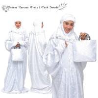 Mukena/Mukenah Grosir Dewasa Terbaru Motif Terusan Pesta Putih Senada