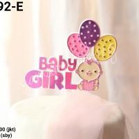 TI-0092-E Topper tulisan baby shower girl bayi perempuan cewek pink
